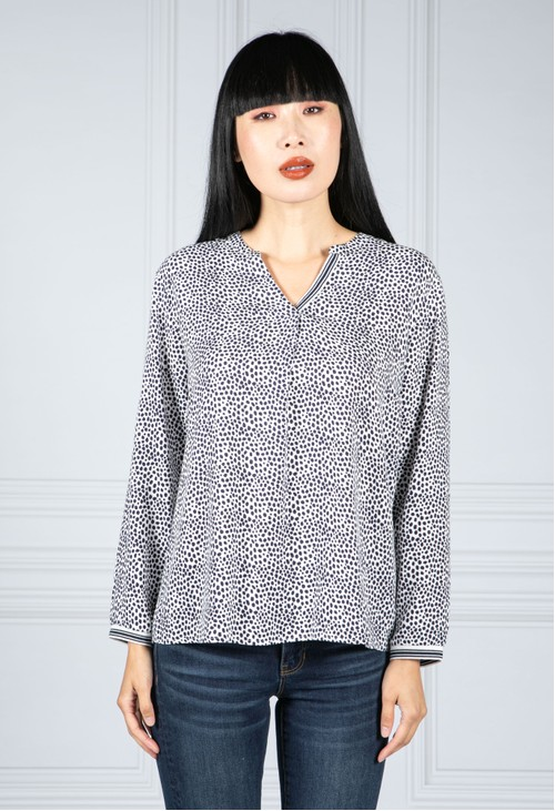 Twist Navy Spotted Print Blouse