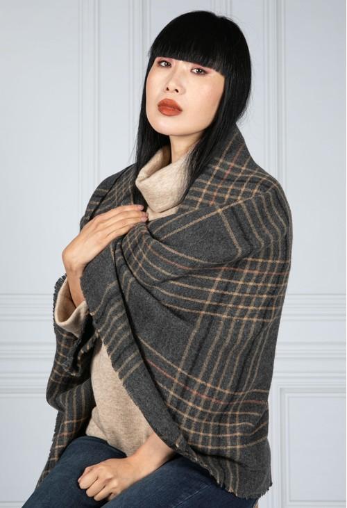 Pamela Scott Wool Feel Check scarf in Charcoal