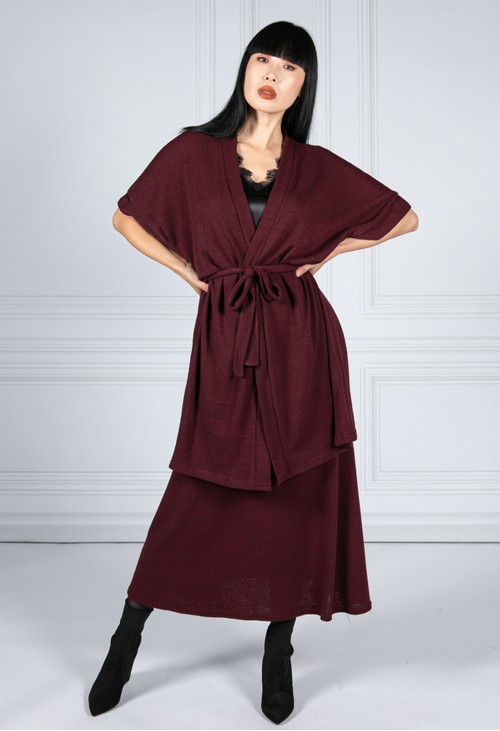 Zapara Drawstring Waist Knit Skirt in Wine