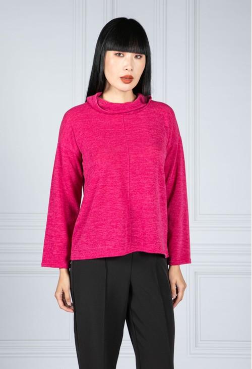 Zapara roll neck knit jumper in Magenta