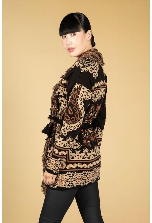 Zapara Frayed Knit Cardigan in Camel