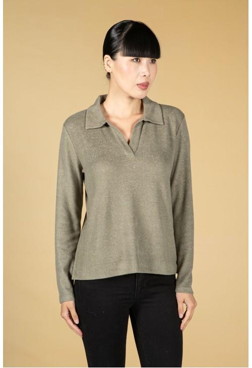 Opus Sibrina Polo Shirt in Soft Moss