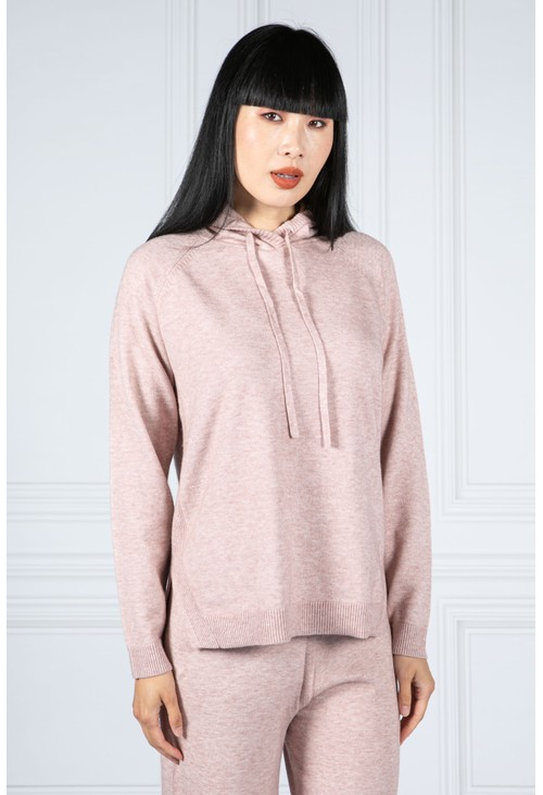 Betty Barclay Knitted Hoodie with Side Slits in Soft Rose
