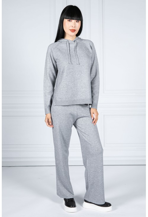 Betty Barclay Knitted Hoodie with Side Slits in Soft Grey