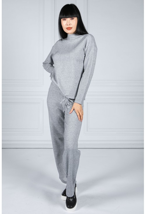 Betty Barclay Knitted Jumper With Drawstring in Soft Grey