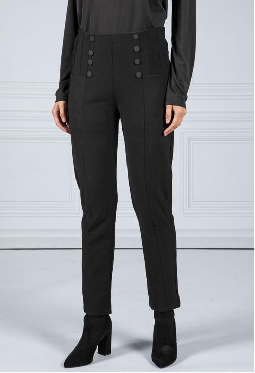 Pamela Scott Button Front Black Trousers