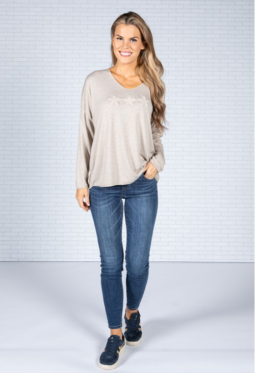 Emporium Star Imprint Knit Top in Oatmeal
