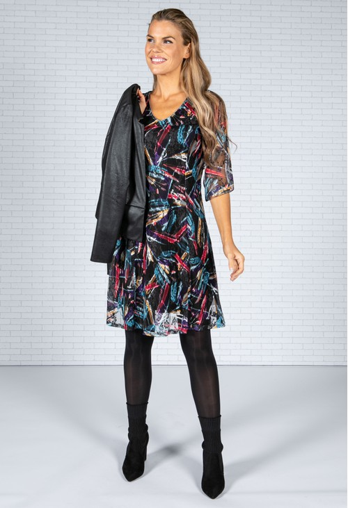 Sophie B Abstract Design Lace Dress