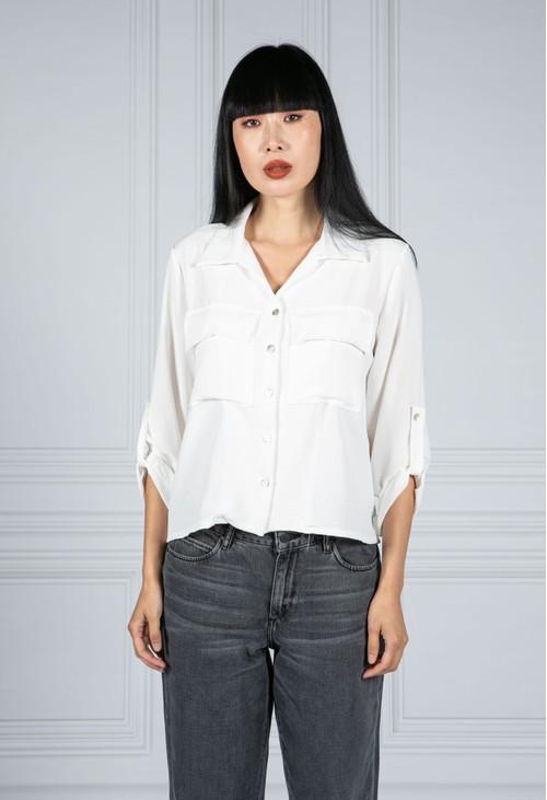 Pamela Scott Cropped Pocket Blouse in White