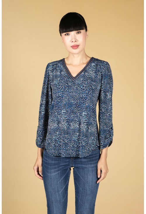 Sophie B Navy Dotted Print Top