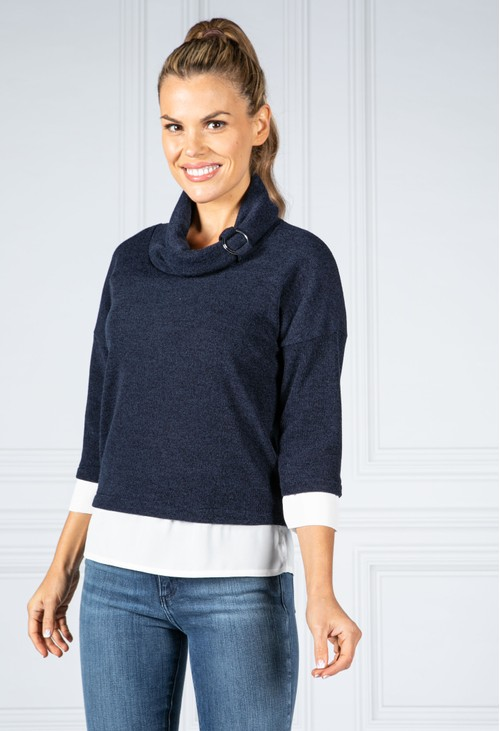 Sophie B Fine Knit Cowl Neck Top with under-shirt detail in Black