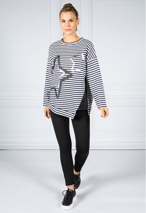 Zapara Over Sized Striped Star Top in Navy & Off-White