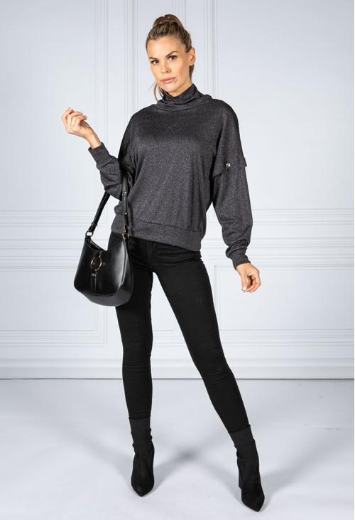 Zapara Charcoal Lurex Knit Jumper