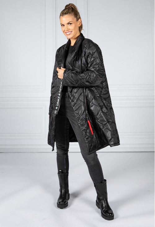Zapara Black Quilted Coat with Toggle