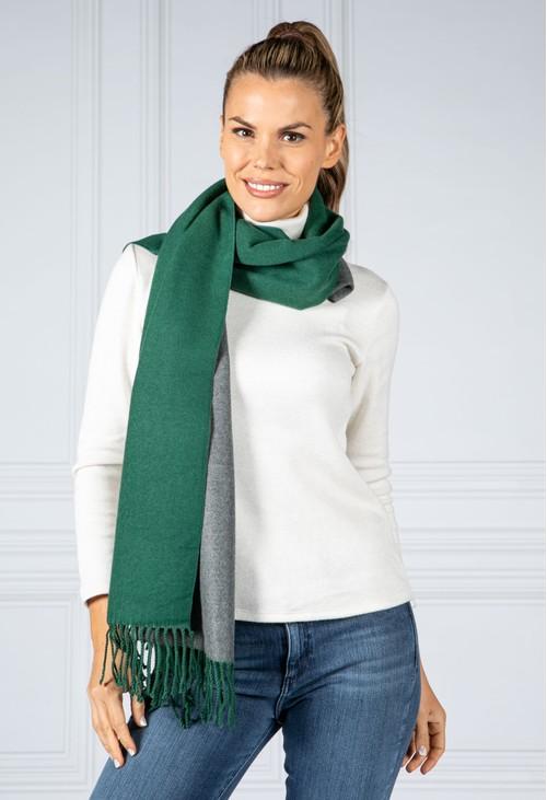 Pamela Scott Double Knit Scarf in Bottle Green and Grey
