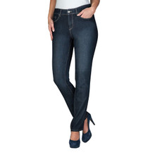 NYDJ Dark Denim Petite Beige Stitch Jeans