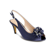 Lunar Elegance Navy Flower Accessory Shoes