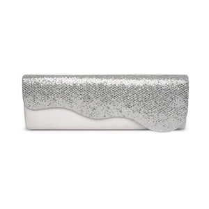 Lunar Silver Diamonte Clutch Bag