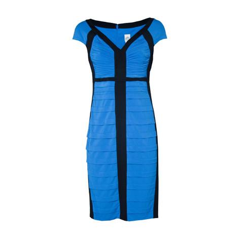 Sangria Black Blue Rib Detail Dress Pamela Scott