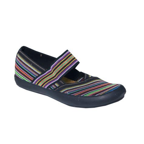 Cotswold Summer Casual Black Multi-Print Shoe