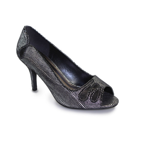 Lunar Black Peep Toe Court Shoe