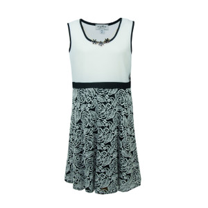 Sophia Christina Sleeveless White & Black Pattern Dress with Necklace Accessory