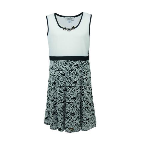 Sophia Christina Sleeveless White & Black Pattern Dress with Necklace Accessory