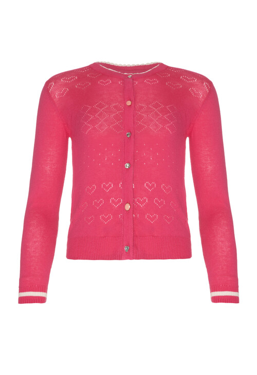 Yumi Girls Pink Round Neck Knit