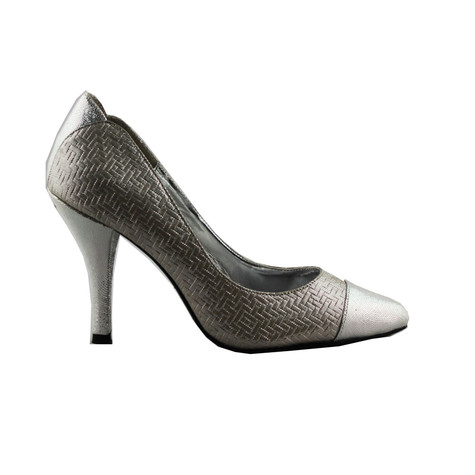 Jaclin Silver Toe Cap Court Shoe