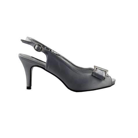 Jaclin Silver Peep Toe Sling Back Court Shoe