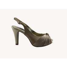 Jaclin Beige Peep Toe Sling Back Satin Shoe