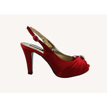 Jaclin Red Peep Toe Sling Back Satin Shoe