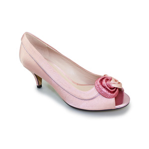 Lunar Soft Pink Kitten Heel Court Shoe