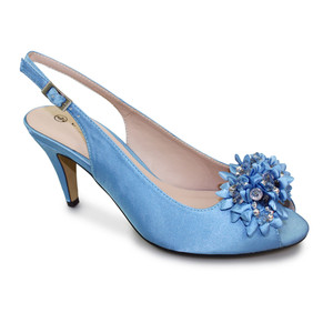 Lunar Pale Blue Peep Toe Sling Back Shoe