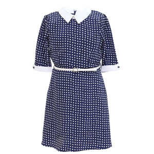Yumi Girls Navy White Collar and Trim Dress