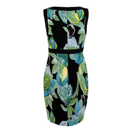 Sangria Black Teal Floral Print Dress