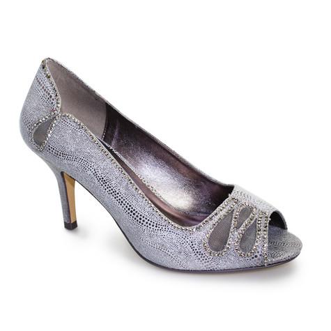 Lunar Pewter Peep Toe Court Shoe