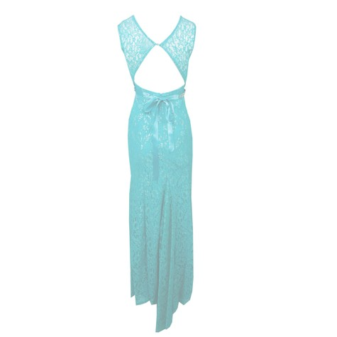 My Michelle Blue Mesh Diamante Belt Long Dress