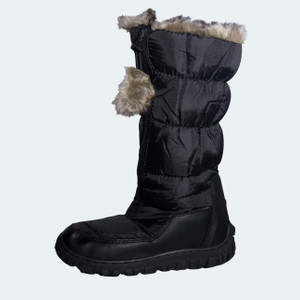 Chamonix Ladies Black Snow/Winter Boot with Fun Fur