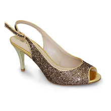 Lunar Gold Peep toe Sling Back Shoe