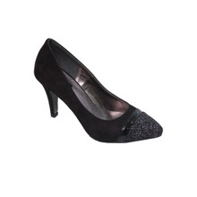 Jaclin Black Court Shoe with Decorative Toe Cap