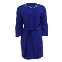 Zapara Royal Blue Round Neck Coat