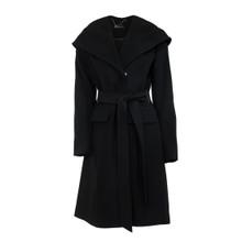 Zapara Black Belted Hooded Jacket