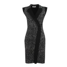 Zapara Black & Grey Leopard Print Dress