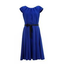 Zapara Pleat Neck Royal Blue Dress