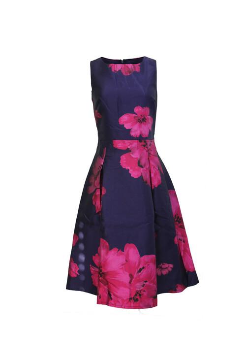 Zapara Purple & Red Print Dress