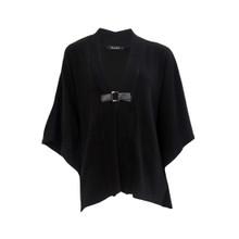 Zapara Black Buckle Tie Knit Jacket