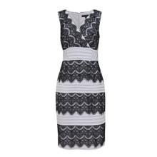 Sangria Black & Sliver Lace Tier Dress