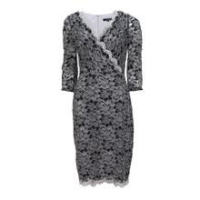Sangria Black & Silver Wrap Lace Dress