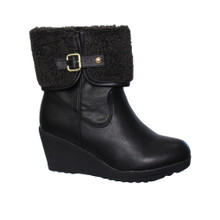 Bella Black Wedge Ankle Boot